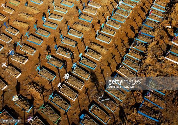 Aerial view showing graves in the Nossa Senhora Aparecida cemetery in Manaus on June 21, 2020. - The novel coronavirus has killed at least 464,423...