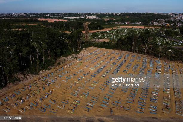 Aerial view showing graves in the Nossa Senhora Aparecida cemetery in Manaus on July 20 2020 Brazil raised its record number of coronavirus deaths...
