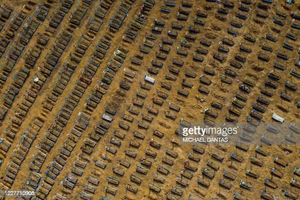 TOPSHOT Aerial view showing graves in the Nossa Senhora Aparecida cemetery in Manaus Brazil on July 20 2020 Brazil raised its record number of...