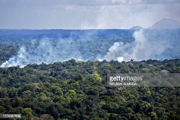 Aerial view showing smoke from a fire billowing from the Amazon rainforest in Oiapoque, Amapa state, Brazil, on the border with French Guiana, on...