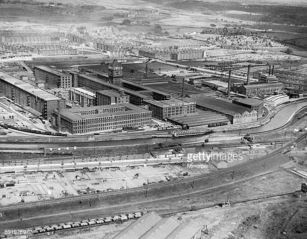 Aerial view showing the Singer Manufacturing Company sewing machine factory in Kilbowie, Clydebank. Circa 1935.