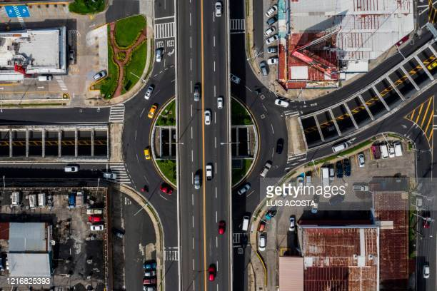 Aerial view showing the Via Simon Bolivar or Transistmica Highway, in Panama City, on June 1, 2020. - Panama's government reopened on Monday the...