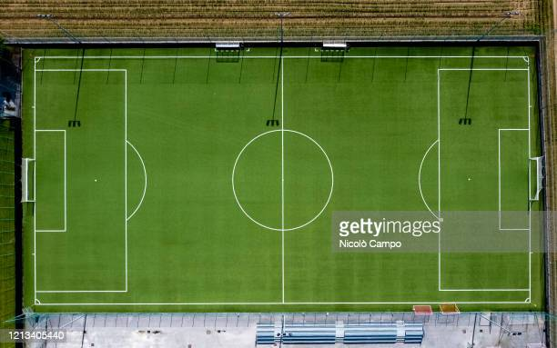 Aerial view shows an empty football pitch. The lockdown caused by the COVID-19 coronavirus emergency banned all sports activities.