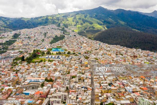 Aerial view shows the densely populated town of Quito in Ecuador.