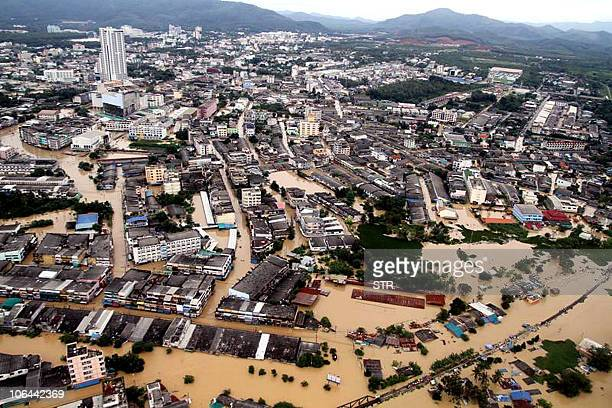 OUT Aerial view shows the flooded southern Thai city of Hat Yai on November 2 2010 Thailand battled on November 2 to rescue thousands of people...