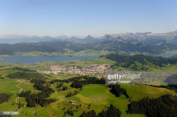 aerial view, sihlsee lake, canton schwyz, switzerland, europe - schwyz stock pictures, royalty-free photos & images