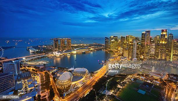 Aerial View Singapore Marina Bay at Dusk