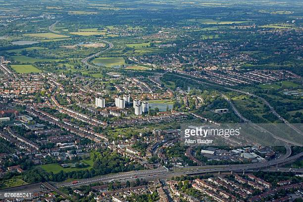 aerial view snaresbrook and woodford in london - redbridge stock pictures, royalty-free photos & images