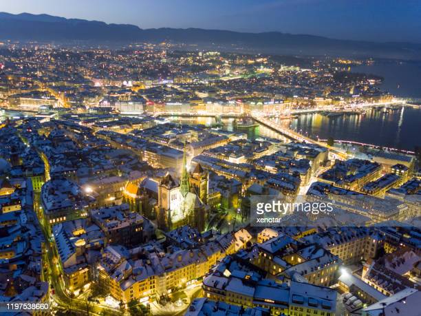 aerial view snow covered old city geneva - geneva switzerland stock pictures, royalty-free photos & images