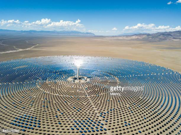 aerial view solar thermal power plant station - climate stock pictures, royalty-free photos & images
