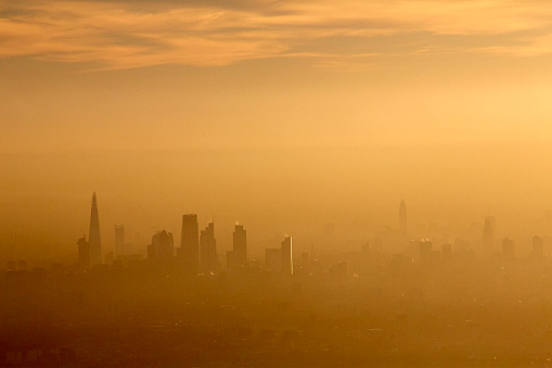 Aerial view South across the city of London in fog and or air pollution - gettyimageskorea