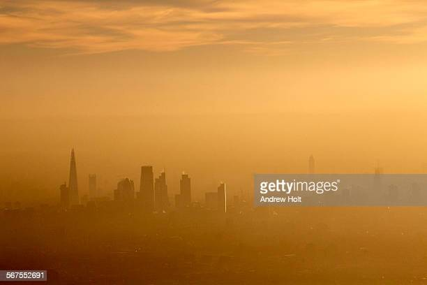 Aerial view South across the city of London in fog and or air pollution