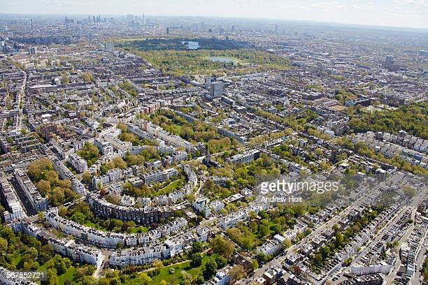 aerial view south east of holland park and hyde park with notting hill - holland park stock pictures, royalty-free photos & images