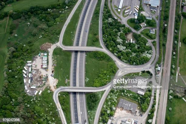 Aerial view south east of M1 motorway London Gateway in Barnet Edgware London UK