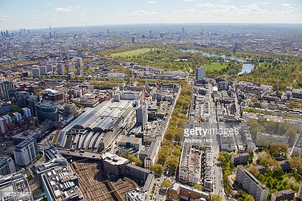 aerial view south of paddington station and westbourne terrace with gloucester terrace  - st mary's hospital paddington stock pictures, royalty-free photos & images