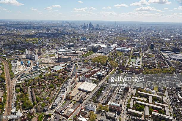 Aerial view south of St Pancras Kings cross Stations