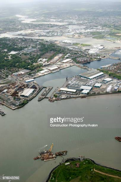 Aerial view south west of St Mary's Island Upper Upnor industrial buildings residential buildings River Medway Estuary north of Rochester Gillingham...