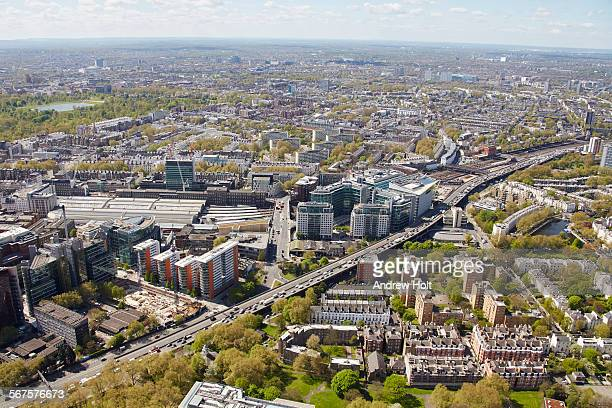 aerial view south west of the westway a40 flyover - st mary's hospital paddington stock pictures, royalty-free photos & images