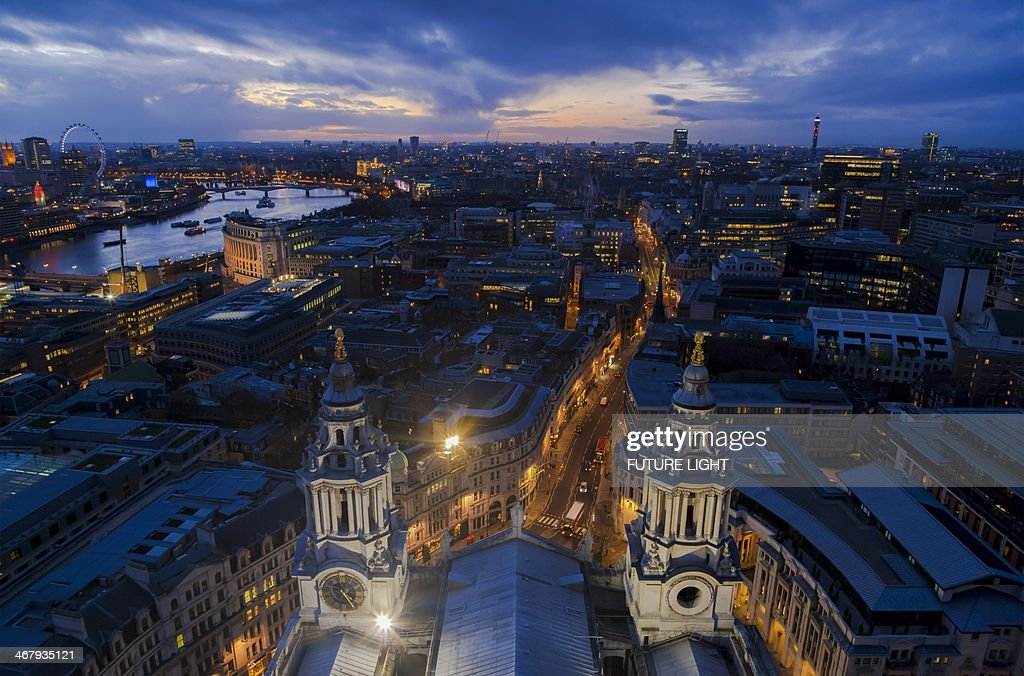 Aerial view St Paul's Cathedral and River Thames : Stock Photo