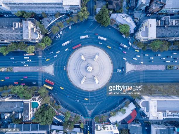 aerial view street roundabout with car at beautiful at morning , top view , Democracy Monument , bangkok , thailand .