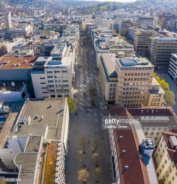 aerial view sunny cityscape, stuttgart, baden-wuerttemberg, germany - stuttgart stock pictures, royalty-free photos & images