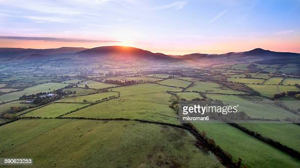 Aerial view, sunrise on foggy day over Tipperary