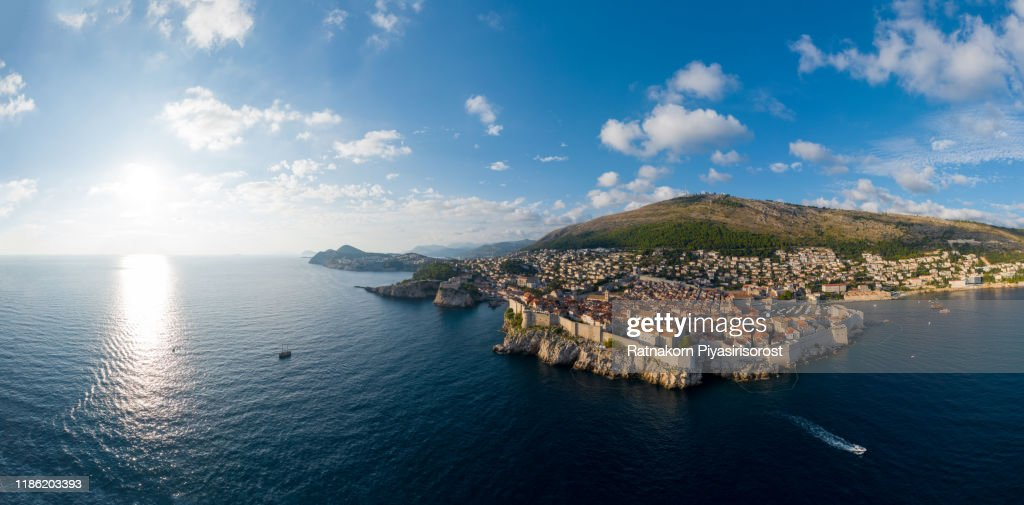 Aerial View Sunset scene of Dubrovnik old town, Croatia : Stock Photo