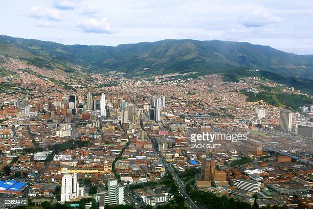 aerial view taken 23 July 2003 of the city of Medellin AFP PHOTO JACK GUEZ