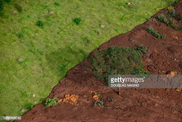 Aerial view taken after the collapse of a dam which belonged to Brazil's giant mining company Vale near the town of Brumadinho in southeastern Brazil...