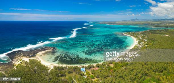 aerial view taken by drone of poste lafayette beach, mauritius - great barrier reef aerial stock pictures, royalty-free photos & images