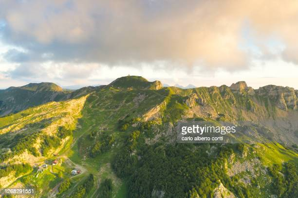 aerial view taken by the drone of the italian apennine peaks, italy - レッジョエミリア ストックフォトと画像