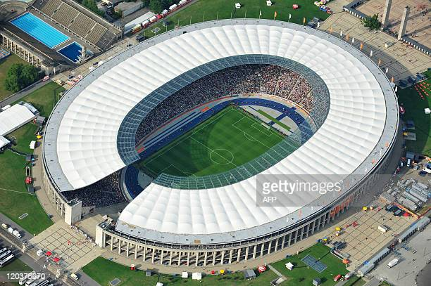 Aerial view taken during the opening match of the FIFA women's football World Cup Germany vs Canada shows Berlin's Olympic Stadium on June 26, 2011....