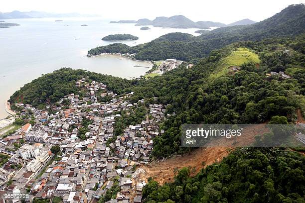 Aerial view taken January 4 2010 of the Morro Carioca hill in Angra dos Reis 100 lm south of Rio de Janeiro Brazil where a landslide buried several...