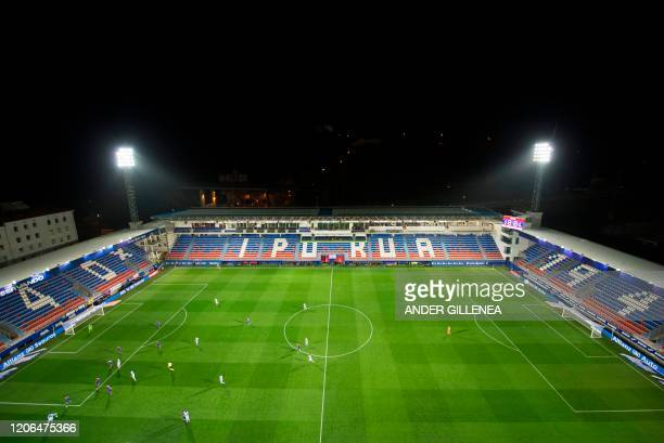 Aerial view taken of the Ipurua stadium in Eibar while the Spanish league football match SD Eibar against Real Sociedad is played behind closed doors...