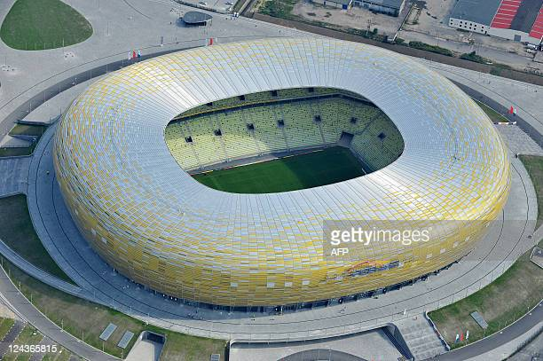 Aerial view taken on August 21, 2011 shows the PGE Arena football stadium that was built for the UEFA Euro 2012 to be held in Poland and Ukraine from...