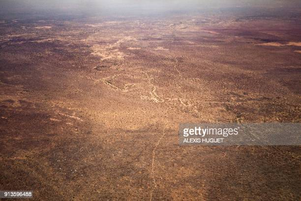 Aerial view taken on December 20 shows the Vakaga arid landscape northern Central African Republic / AFP PHOTO / ALEXIS HUGUET