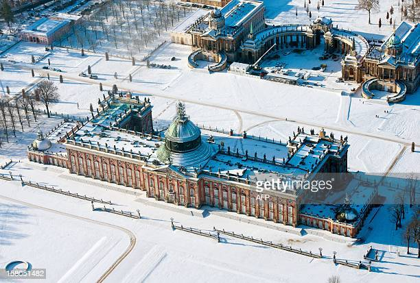 Aerial view taken on December 7 2012 shows the Neues Palais at the park of Sanssouci Palace in Potsdam eastern Germany AFP PHOTO / PATRICK PLEUL...