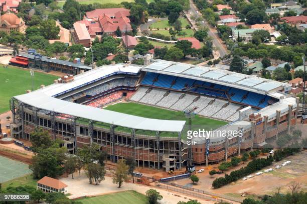 Aerial view taken on February 14 2010 shows the Loftus Versfeld Stadium in central Pretoria South Africa ahead of the 2010 Football World Cup About...