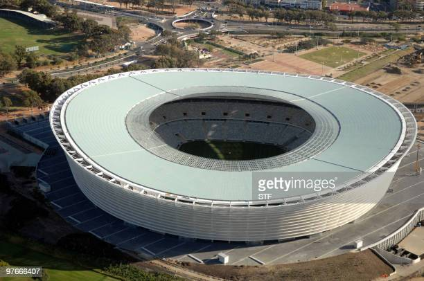 Aerial view taken on February 17, 2010 shows the Green Point Stadium in Cape Town, South Africa, ahead of the 2010 Football World Cup. About 450 000...