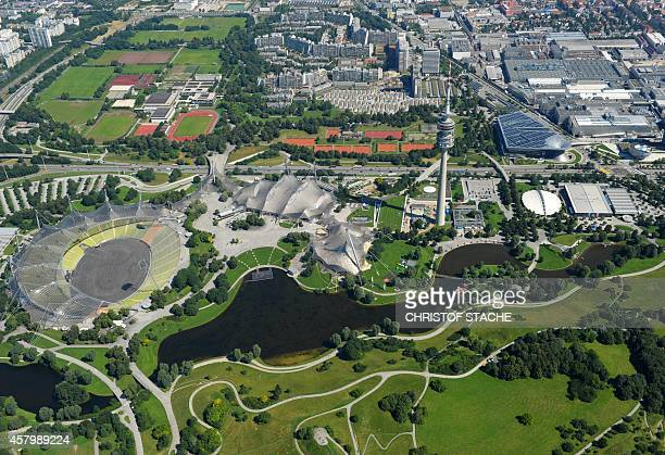 Aerial view taken on July 4 2011 shows the Olympic park with the Olympic stadium built for the 1972 summer Olympic Games in the southern German city...