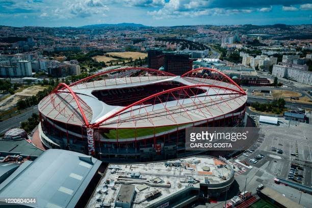 Aerial view taken on June 17, 2020 of the Luz Stadium in Lisbon. - The UEFA Champions League quarter-finals, semi-finals and final will be played as...