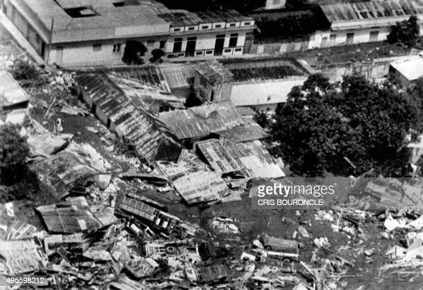 Aerial view taken on November 16 1985 of the town of Armero 130 kms west of Bogota Trucks cars and buildings lay scattered around what used to be the...