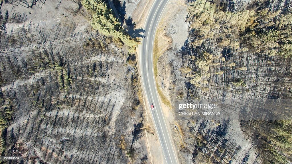 Aerial view taken with a drone of a forest devastated by fire near La Florida, Bio Bio region , some 420 km south of Santiago, on January 29, 2017. Forest fires ravaging southern Chile have now killed 11 people, President Michelle Bachelet said Saturday, as firefighters waged an all-out battle to extinguish the raging infernos. / AFP / CHRISTIAN