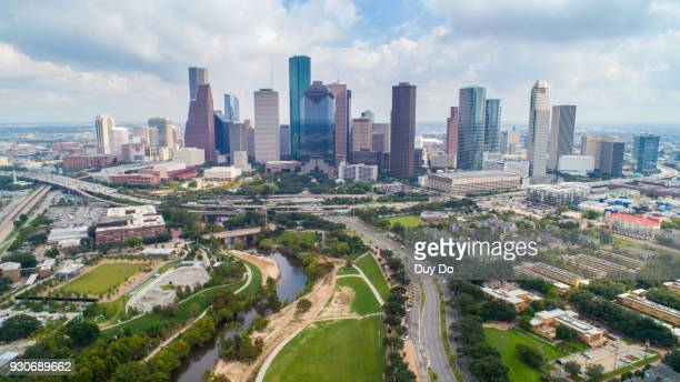 aerial view taking by drone of downtown houston, texas - houston texas fotografías e imágenes de stock