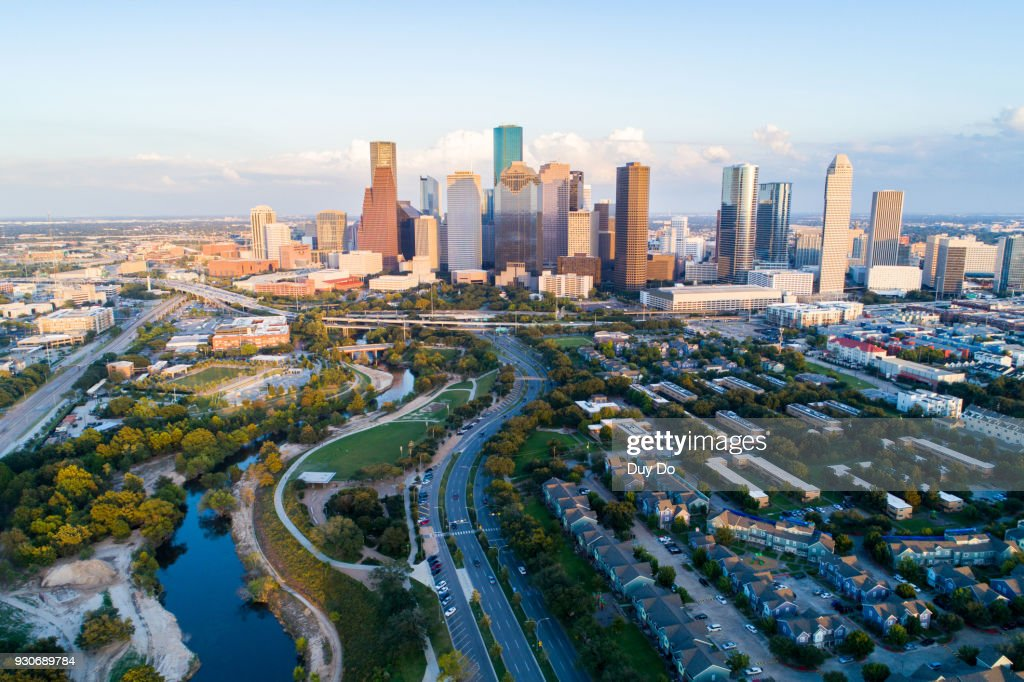 Aerial view taking by drone of downtown Houston, Texas : Stock Photo