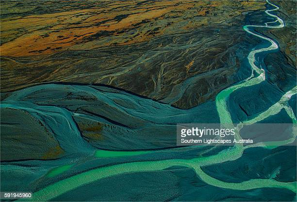 Aerial view, Tasman Glacial river, Mount Cook National Park, South Island of New Zealand.
