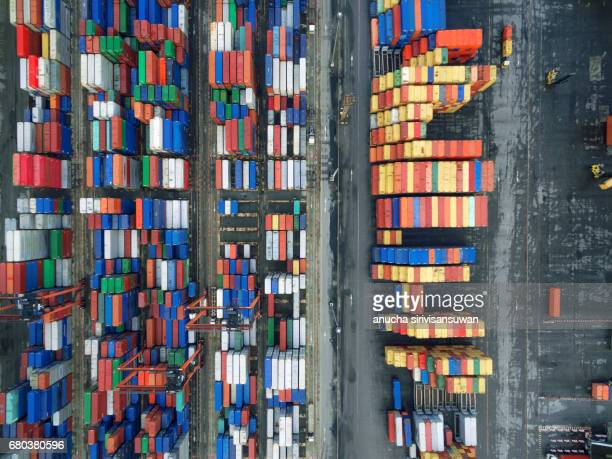 Aerial view There are containers and machinery,  texture .