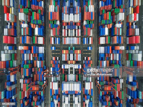 aerial view there are containers and machinery,  texture . - cargo train stock photos and pictures