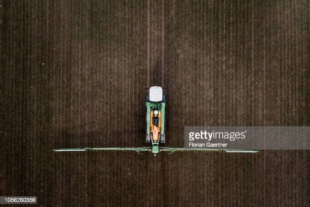 Aerial view to a selfpropelled rowcrop sprayer is pictured on November 01 2018 in Doebern Germany