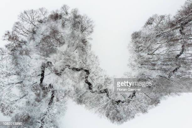 Aerial view to a small river in winter on January 11 2019 in Reichenbach Germany
